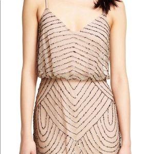 Adrianna Papell long blouson sequined dress -Sz 0
